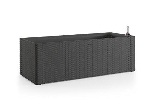 XL Pflanzkasten rechteckig im Rattan-Design aus Kunststoff in Anthrazit. Mit Wasserspeicher und Wasserstandsanzeige, Maße BxTxH 100 x 43 x 33 cm.