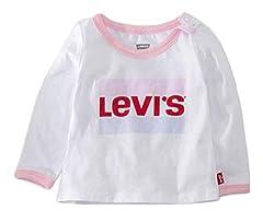 Levi's Camiseta Blanca de Manga Larga para Niña - 1EA214