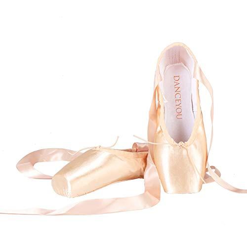DANCEYOU professionelle Spitzenschuhe Ballettschuhe Tanzschuhe Ballettschläppchen mit genähtem Band für Mädchen und Damen mittlere Weichheit EU 38.5