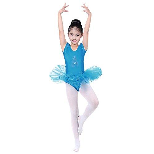 Honestyi BabyBekleidung Kleider für Baby-Mädchen Kinder Kleinkind Ballerinas Tanzschuhe Muster Maschen Tutu Ballettröckchen Fliegender Ärmel Jumpsuits Dress (Blau, 110)