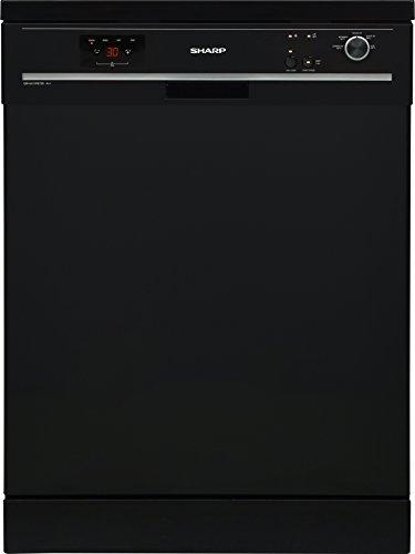 Sharp QW-GX13F472B-DE / Geschirrspüler freistehend 60 cm / A++ / 13 Maßgedecke / 4 Programme / Startzeitvorwahl / 12 L Wasserverbrauch / Höhenverstellbarer Oberkorb / AquaStop / schwarz