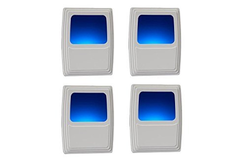 Amerelle Always On Blue Night Light, 4 Pack – Plug-In Forever-Glo LED Night Light – Soft Night Light with Cool Blue Glow, Energy Efficient – An Ideal Bathroom Night Light or Nursery Night Light