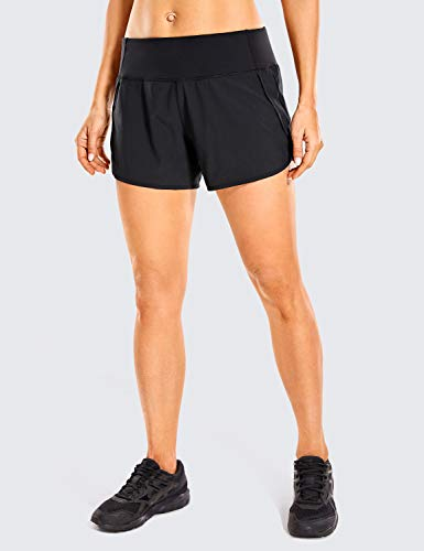 CRZ YOGA Women's Quick-Dry Athletic Sports Running Workout Shorts with Zip Pocket - 4 Inches Black 4''-R403 Large