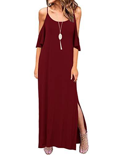 ACHIOOWA Mujer Vestido Elegante Casual Playa Tallas Grandes Fiesta Vestido Playa Sexy con Cuello en V A14799-02 S