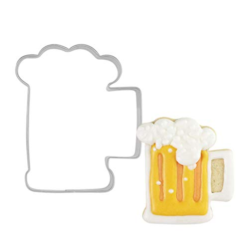 UPKOCH Oktoberfest Ausstechformen Edelstahl Bier Flasche Form Keksausstecher Plätzchenformen für Oktoberfest Party Dekor Backen Küche Zubehör 4 Stück (Silber)