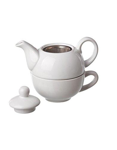 teiera in ceramica con la tazza, bianco (18x11,30x14)