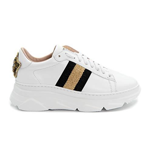 Stokton Sneaker 807D, Weiß - Weiß, Schwarz, Platin - Größe: 38 EU