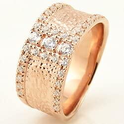 [ジュエリーアイ]Jewelry i 指輪 18金 ダイヤモンドリング 幅広 ピンクゴールドK18 ピンキーリング ギフト 13.5号