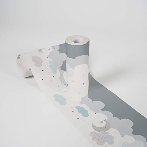 Bordi Adesivi Per Pareti Lovely Kids Dreamy Sky 5.00 m x 0.155 m Grigio Blu Bianco Prodotto in Germania da A.S. Création 403744