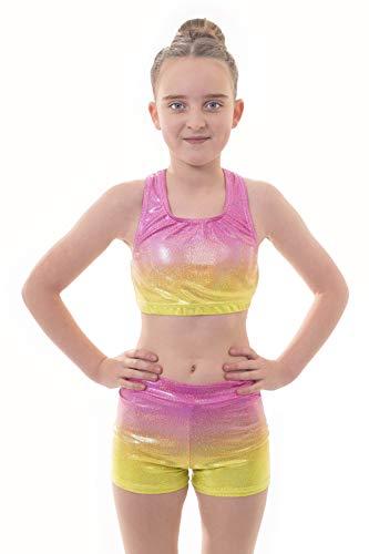 Velocity Dancewear Ensemble haut court et short pour fille idéal pour la gymnastique et l'entraînement sportif (Summer Ombre, 5-6 ans)