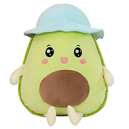 MABES WAREHOUSE Cute Avocado Plush Throw Pillows - Avocado Anime Plushie Room Decor, Cute Stuff Anime Plushies Squishy Pillow, for Girlfriends (Happy Face with Hats, 17,7')
