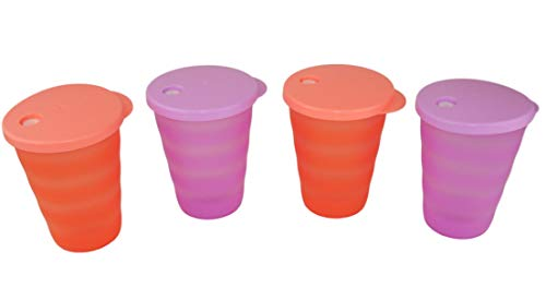 TUPPERWARE Junge Welle Trinkhalmbecher 330ml pastellorange (2) + lila (2) Becher
