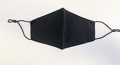2 Stück Stoff Mund und Nasen Maske Waschbar Wiederverwendbar aus Baumwolle Schwarz