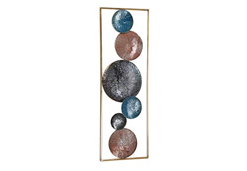 Kobolo Wandbild Wanddeko Metallbild - Planets - Metall - 31x89 cm - orange blau schwarz