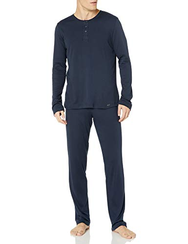 Hanro Herren Thilo Long Sleeve Pajama Pyjama Set, Midnight, XX-Large