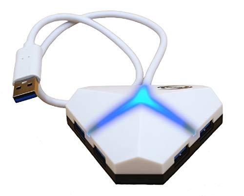 Hub 4 Port USB 3.0 Gaming Led für PC, Laptop, PS4, PS5, Xbox mit Micro USB Mehrere USB-Ports (White)