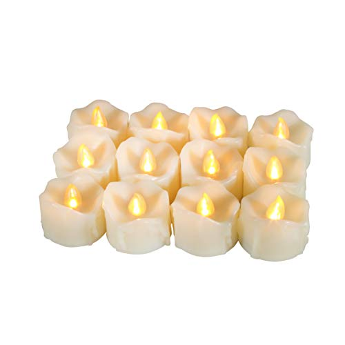 12 PCS Flameless Dripping Wax LED Candles Battery Operated with Timer / 6 Hours On and 18 Hours Off Per Cycle, LED Tea Light Candles for Outdoor Halloween Pumpkin Light Christmas Decorations