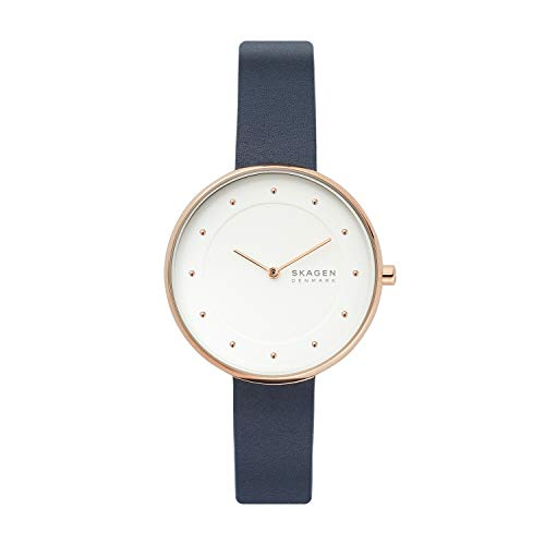 Skagen Women's Gitte Quartz Leather Watch, Color: Blue, 16 (Model: SKW2810)