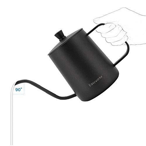 Easyworkz Gage giet over waterkoker roestvrij staal zwanenhals lange smalle druppeluitloop koffie thee pot 600ml (zwart)