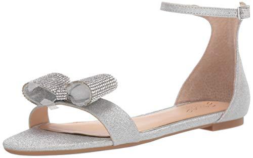 Jewel Badgley Mischka Women's UNA Sandal, Silver Glitter, 7.5 M US