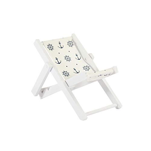 Oblique Unique® Mini Liegestuhl Stuhl Strand Klappstuhl aus Holz Maritime Deko Accessoires mit Anker Sommer Tischdeko Dekoration Blau Weiß - Wählbar (Anker)