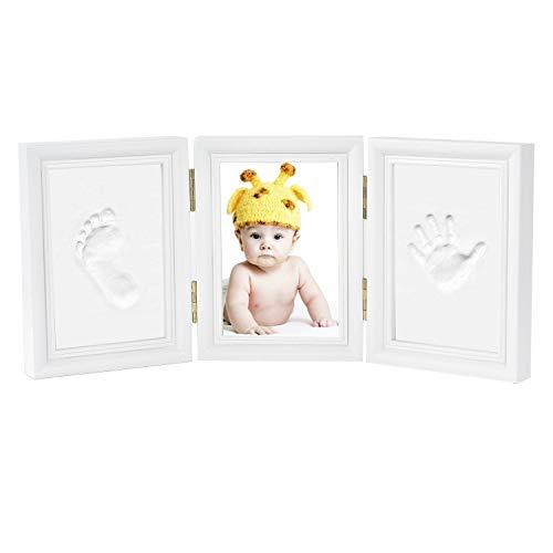 Bilderrahmen - Newlemo Gipsabdruck Baby Hand und Fuß - Baby Handabdruck und Baby fußabdruck DIY Set Abdruck des Rahmen Geschenk (3 teile, weiß)