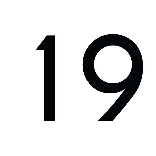 Zahlenaufkleber Nummer 19, schwarz, 20cm (200mm) hoch, Aufkleber mit Zahlen in vielen Farben + Höhen, wetterfest