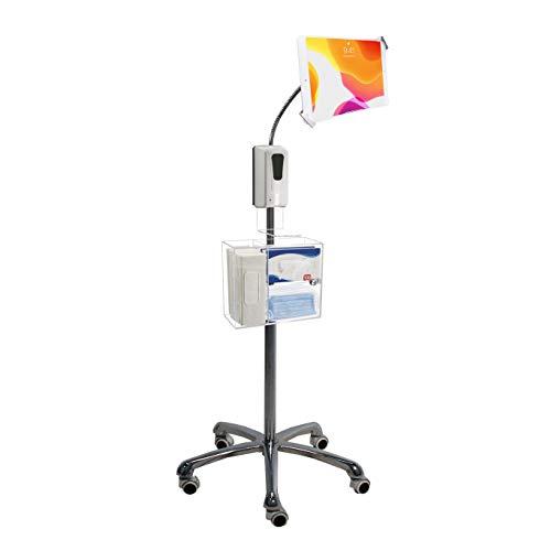 CTA Digital Schwerlast-Sicherheits-Schwanenhals-Bodenständer für 7-13 Zoll Tablets mit Desinfektions-Station und automatischem Seifenspender