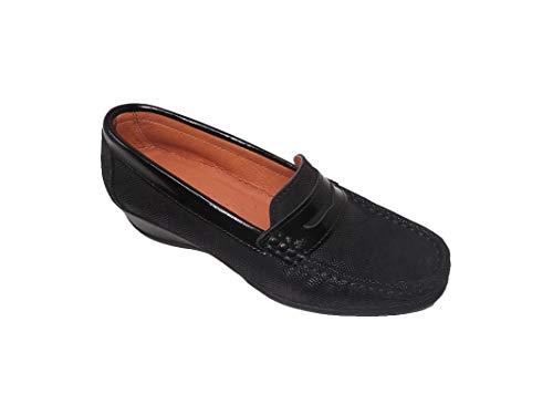 Zapato de Mujer/Mocasín/Finano/Empeine: Piel Nobuk y Charol/Plantilla y Forro de Piel/Cuña 4 cm/Color Negro/Talla 38