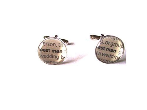 Boutons de manchette pour Best Man avec dictionnaire Mots sous verre cabochon dômes en velours Boîte à boutons de manchette