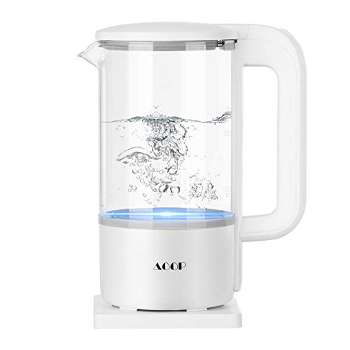 Electric Kettle, 1.2L Glass Electric Tea Kettle, 1000W Water Kettle with LED Light, BPA Free Cordless Water Boiler with Stainless Steel Inner Lid and Bottom, Auto Shut-Off & Boil Dry Protection,White (Renewed)