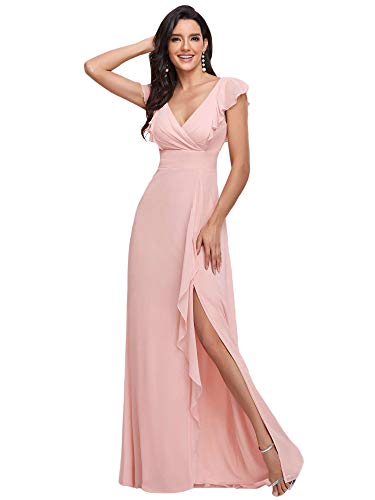 Ever-Pretty Women's Lotus Leaf A-Line Wedding Party Dress Long Pink US10