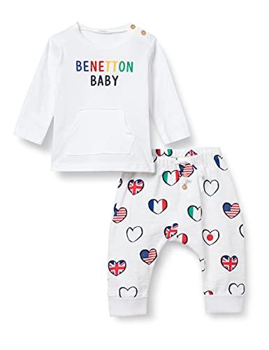 United Colors of Benetton (Z6ERJ Comp Pant 3I1XMM284, Maglia Bianca + Pantalone Stampa Multicolore 60N, 68 Bimbo