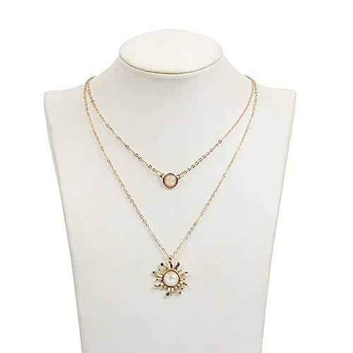 Jovono Boho Multilayered Opal Pendant Necklaces Sun Flower Pendant Chain Jewelry for Women and Girls (Gold)