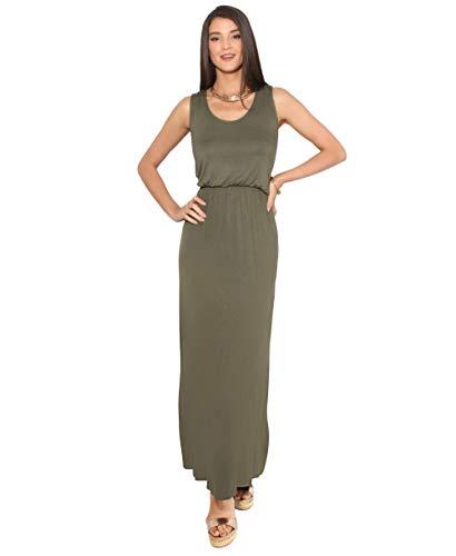 3288-KHA-14: Sommer Maxi Kleid Strandkleid Ärmellos: Khaki (3288) 42