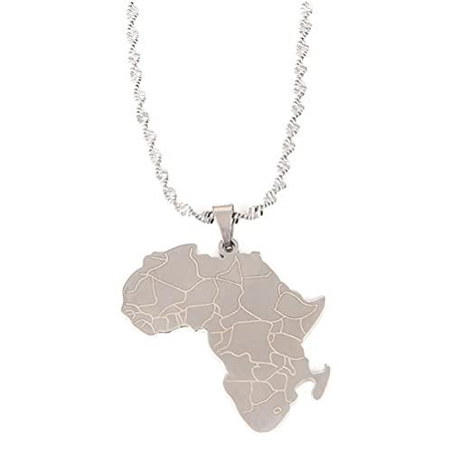 Collar con colgante de mapa africano de acero inoxidable de África continente joyería de color plateado Collar para mujer con mapa del mundo