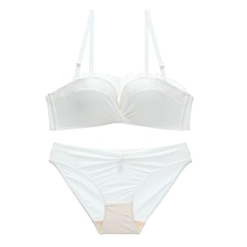 N\P Ropa interior para niñas, sin anillo de acero, pequeños pechos fruncidos para un tamaño grande. Blanco 100A