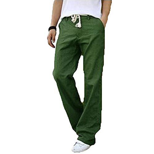 Mieuid Uomo Pantaloni da Pantaloni Estivi in Lino Chic Leggero con Tasche Pantaloni Casual Larghi Pantaloni da Spiaggia per Pantaloni Tinta Unita Traspiranti (Color : Green, Size : M)