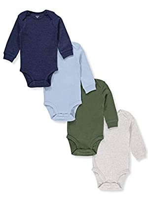 Carter's Baby Boys 4-Pack Long-Sleeve Original Bodysuits Solids (24 Months)