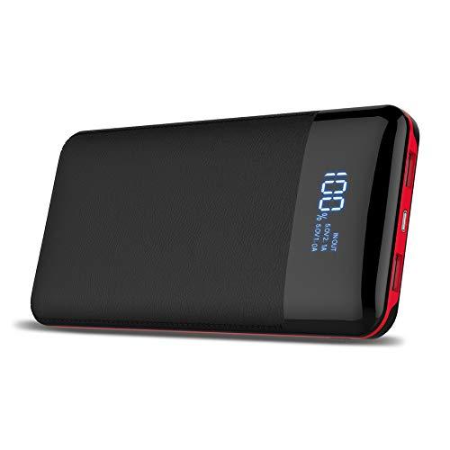 Tragbares Ladegerät Powerbank 24000Mah Digitalanzeige-hohe Kapazitäts-externer Batterie-Satz für iPhone X / 8 / 8Plus, iPad Samsung-Galaxie S9 / S8, Tablette und mehr (Schwarzes)