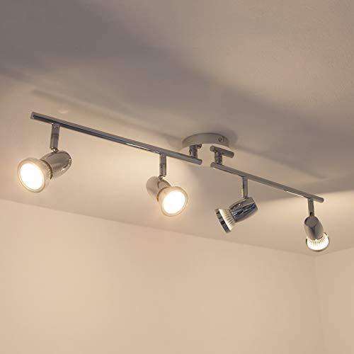 Lindby LED Deckenleuchte 'Arminius' (Modern) in Chrom aus Metall u.a. für Wohnzimmer & Esszimmer (4 flammig, GU10, A+, inkl. Leuchtmittel) - Lampe, LED-Deckenlampe, Deckenlampe, Wohnzimmerlampe