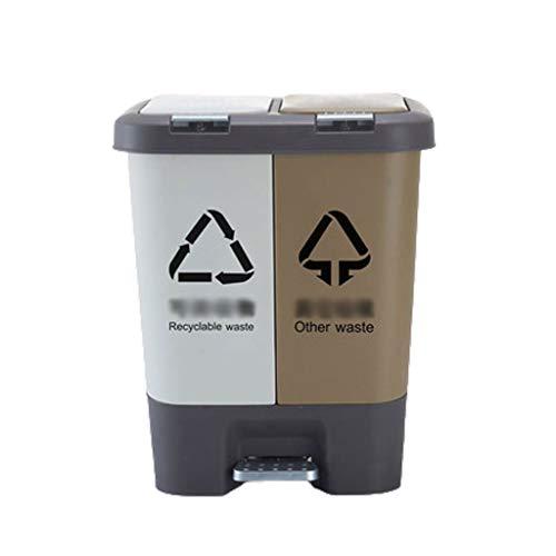 QWp Cubo de Basura Capacidad Adicional Bote de Basura, con Tapa de Doble Barril Cubo de Basura, Ideal for la Cocina, Oficina y Hogar Papelera Bote de Basura (Color : D 20L)