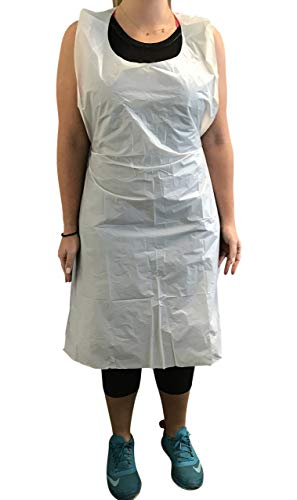 KingSeal Bib Style Disposable Poly Aprons, 28 by 46 Inches, Box of 100 Aprons, White