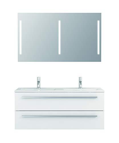 Badmöbel-Set Libato - 120 cm breit - Weiß Hochglanz - Badezimmermöbel Doppel-Waschtisch mit Unterschrank Spiegel mit Beleuchtung Sieper Jokey