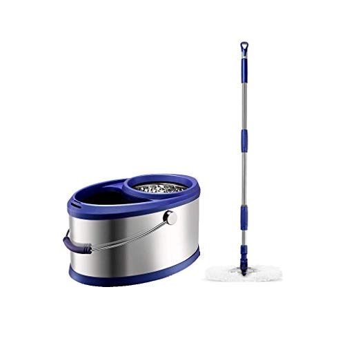 IVQAPP Spinning and Bucket Cleaning Set Rotatable Hangable One Finger Pressure Design Household Blue Head *2 Stainless Steel a