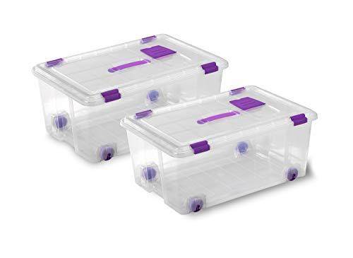 TODO HOGAR - Caja Plástico Almacenaje Grandes Multiusos con Asa y Ruedas - Medidas 585 x 390 x 250 - Capacidad de 42 litros (2)