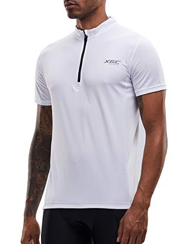 Herren Kurzarm Radtrikot Fahrradtrikot Fahrradbekleidung für Männer mit Elastische Atmungsaktive Schnell Trocknen Stoff 1-2er Packung (White, XXL)