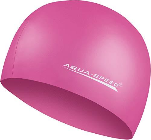 Aqua Speed MEGA Pinke Schwimmmütze für Damen I Bunte Badekappe für Mädchen Jungs Kids I Bademütze wasserdicht | Badehaube | Schwimmhaube | Silikon I 27