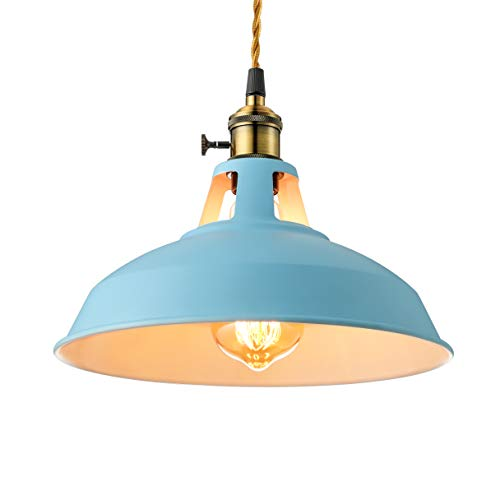 KWOKING Lighting Lovely Industrial 1 Light Pendant Lamp Modern Ceiling Lights with Adjustable Cord Colorful Hanging Lamp for Dining Table Restaurant Kitchen Island Blue Finish