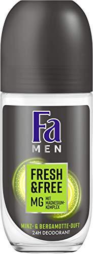 Fa Men Roll-on Fresh & Free Minz- & Bergamotte-Duft ohne Aluminium und Alkohol, 6er Pack(6 x 50 ml)